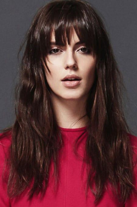 5. Long Hair with Choppy Bangs