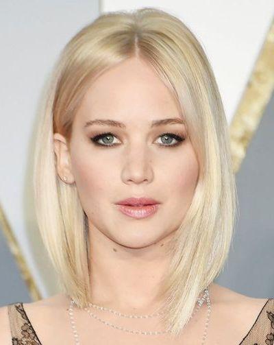 Asymmetrical bleached blonde bob haircut for fine hair