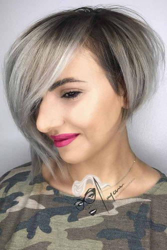 Asymmetrical Short Bob With Bangs #bobhaircut #shortbob #sidepart #silverhair