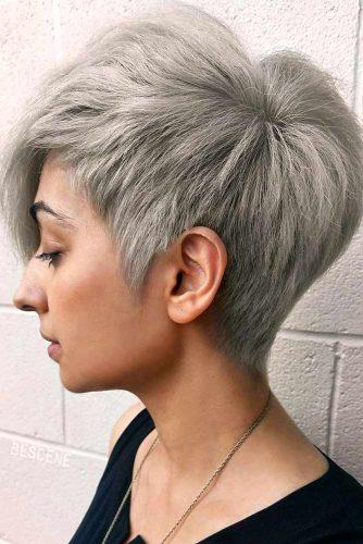 Asymmetrical Straight Pixie #shortgreyhair #shorthaircuts #greycolor #pixiehairstyle #straighthair