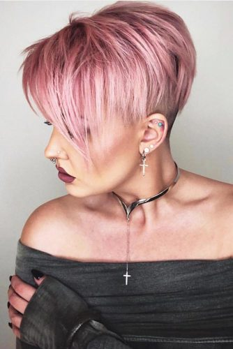 Asymmetry is the Best Choice Pink #pixie #bangs #pinkhair