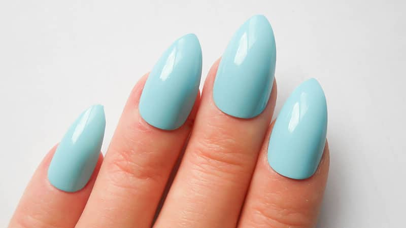 Baby Blue Almond Shaped Nails