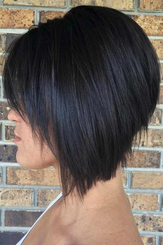 Black Bob With Bangs #bobhaircuts #haircuts #invertedbob #shortbob #blackcolor