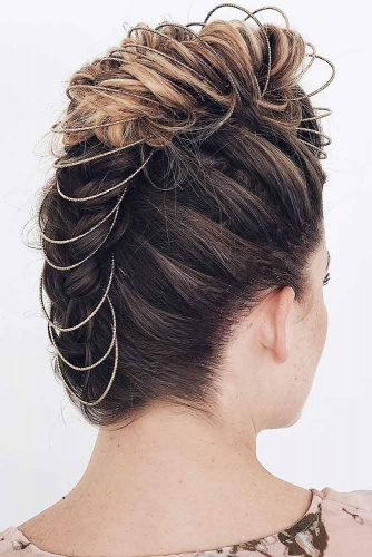 Braided Mohawk With Accessories #braids #updo #fauxhawk