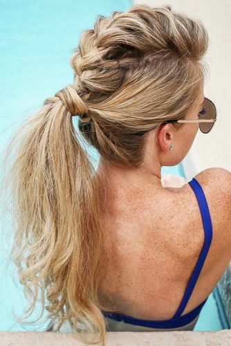 Braided Ponytail Hairstyles Fauxhawk #braids #ponytail