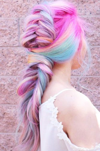 Bright And Colorful Tuxedo Braid #longhair #braids #fauxhawk