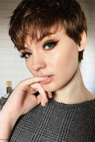 Brown Chocolate Pixie For Thin Hair