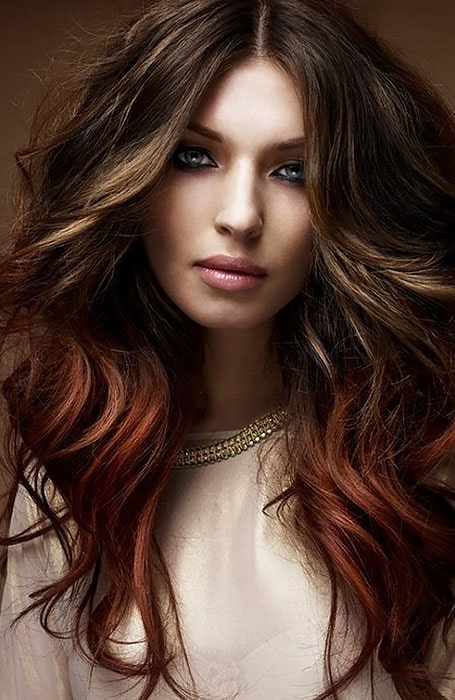 Chocolate Brown Hair with Light Brown Highlights and Red Ends