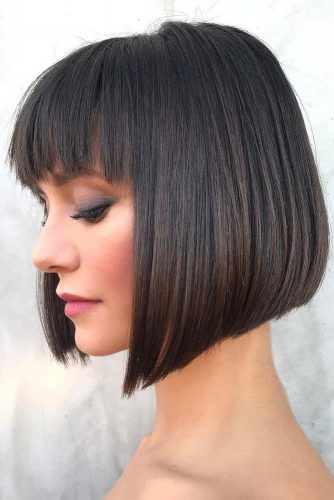 Classic Bob Haircut With French Fringe