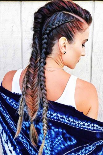 Cool Triple Braided Mohawk Style #braids #longhair