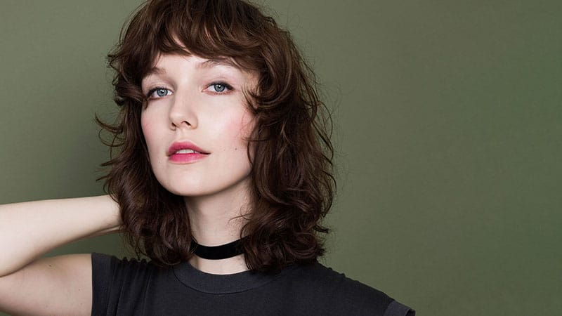 Curly Long Bob with Bangs