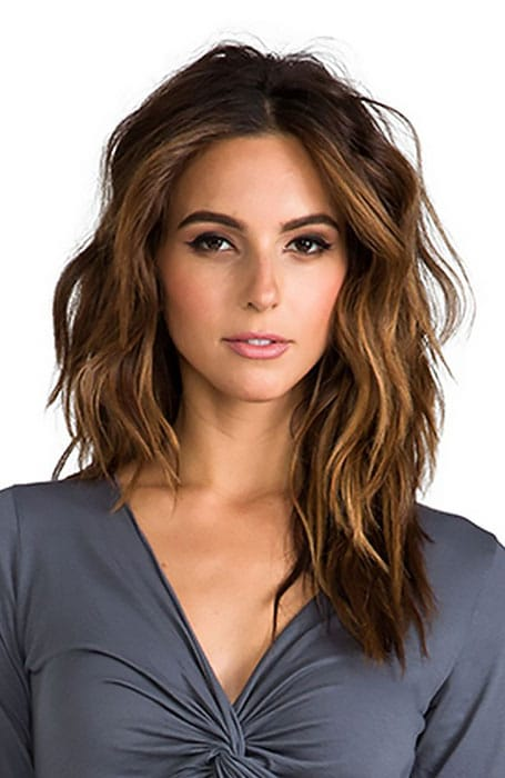 Deep Brunette Hair Color with Caramel Highlights