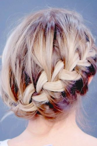 Diagonal French Braid Updo Hairstyle