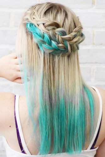 Dirty Blonde Hair With Blue Tips #blondehair #bluehair #braids #ombre