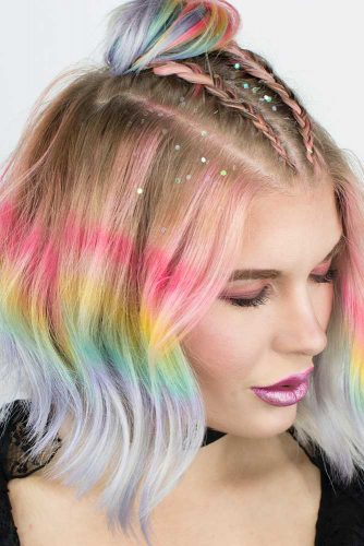 Double French Braids with a Topknot on Rainbow Short Hair