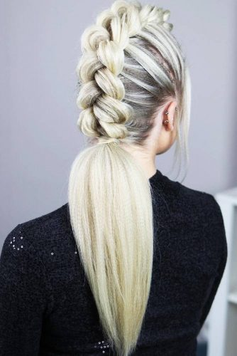 Dutch Mohawk Braided Ponytail #longhair #braids #ponytail