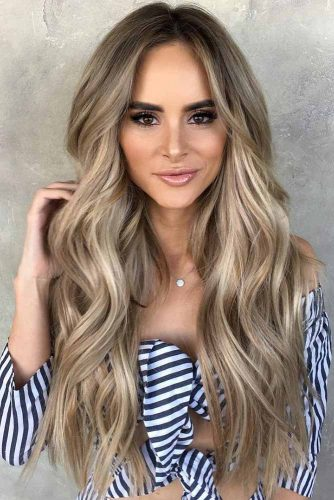 Extra Long Dirty Blonde Hair With Lowlights #longhair #wavyhair #balayage