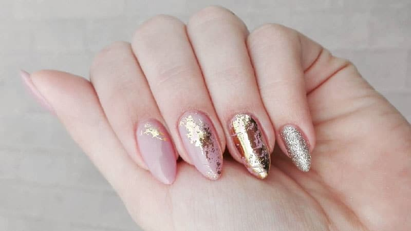 Gold and Pink Almond Shaped Nails