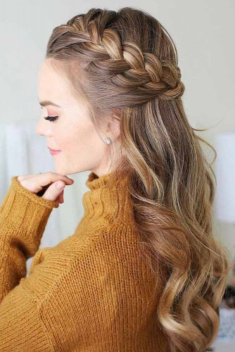 Half-Up Braided Hairstyles Halo #braids #half-up