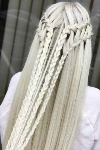 Half-Up Braided Hairstyles Waterfall #braids #half-up