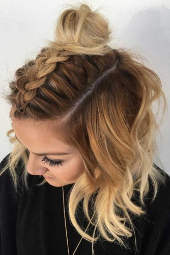 High Bun And Braided Mohawk For Christmas Party #shorthairstyles #christmashairstyles #hairstyles #bobhairstyles