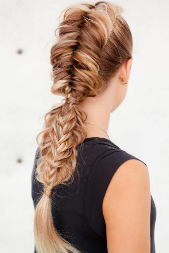 Inverted Fishtail Hawk Into Split Fishtail Braid #longhair #braids #fauxhawk