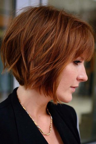 Light Auburn Short Layered Bob Haircut With Bangs #bobhaircuts #haircuts #layeredbob #shortbob #auburnhair