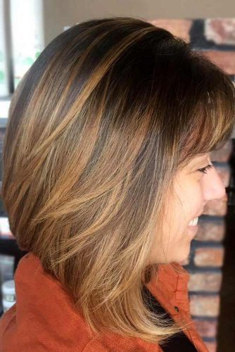 Lob Haircut With Bangs #bobhaircuts #haircuts #invertedbob #shortbob #caramelhighlights
