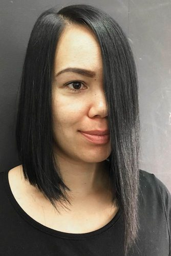 Long Bob For Sleek Black Hair #longbob #bobhaircut #sleekhair #straighthair