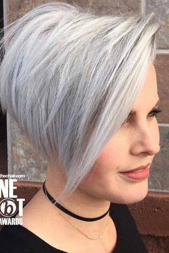 Long Pixie Cut For Thick Hair #longpixie #pixiecut #silverhair #layeredhair