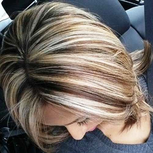 Lowlights and Highlights in Mid-Length Haircut