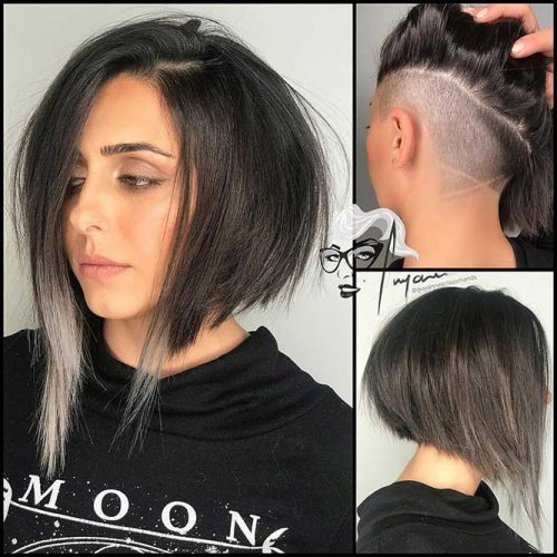 Medium Asymmetrical Bob With Undercut #bobhaircut #asymmetricalbob #undercut