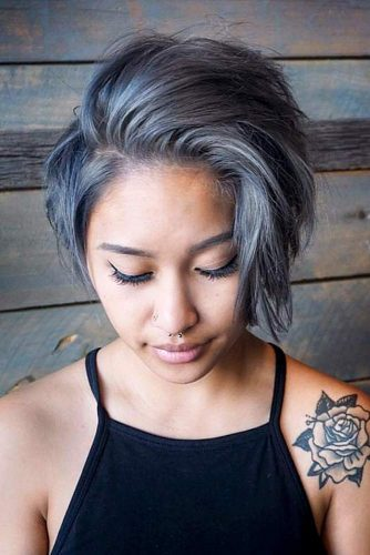 Messy Grey Long Pixie #shortgreyhair #shorthaircuts #greycolor #pixiehairstyle #messyhair