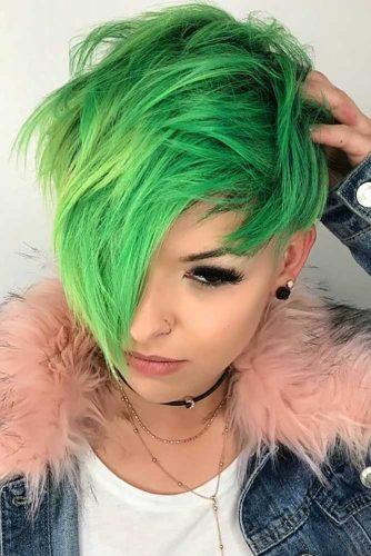 Messy Pixie Cut #pixiecut #longpixie #greenhair