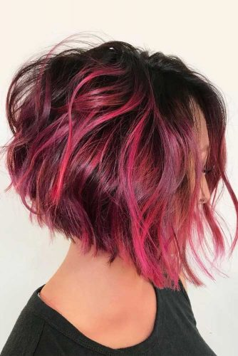 Pink And Brown Angled Asymmetrical Short Bob #shortbob #shortbobhairstyles #hairstyles #bobhairstyles