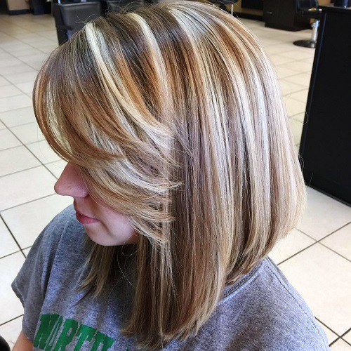 Platinum Balayage Long Bob with Flicked Hair Ends