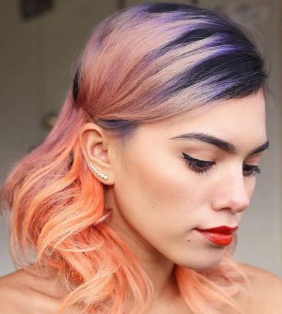 purple and peach pastel hairstyle