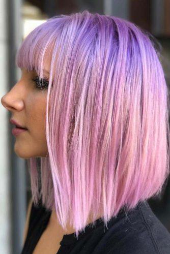 Rose Medium Length Hairstyles With Blunt Bangs #mediumhairstyles #hairstyles #mediumlengthhairstyles #bangs