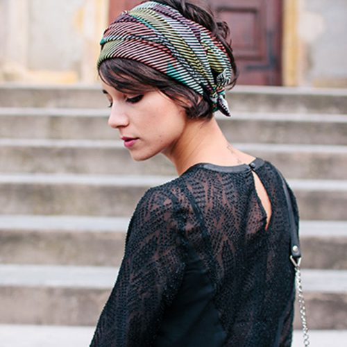 Scarf Covered Short Hair