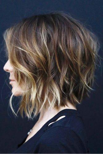 Shag Haircut For Dark Hair A line Lob #shaghaircut #haircuts #lobhaircut #mediumhair #blondehighlights