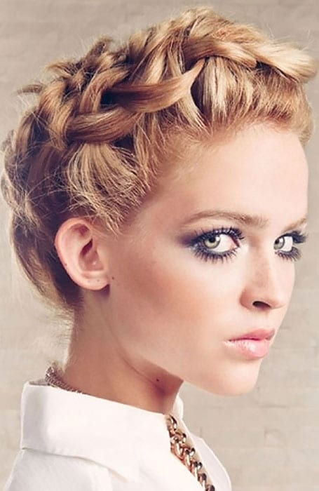 Short Curly Hair with Crown Braid