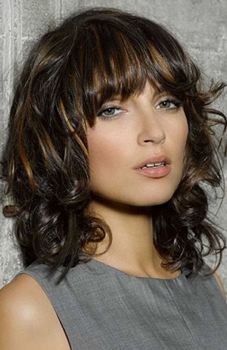 Shoulder Length Curls with Bangs