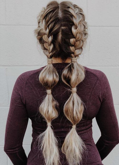 Side Braids With Bubbles