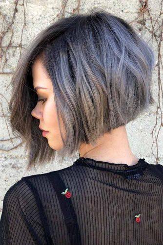 Side Parted A line Bob Haircut #shortgreyhair #shorthaircuts #greycolor #bobhairstyle