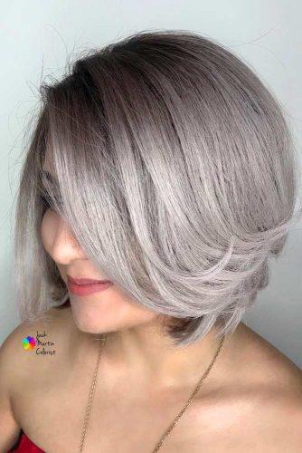 Side Parted Straight Short Bob #shortgreyhair #shorthaircuts #greycolor #bobhairstyle #straighthair