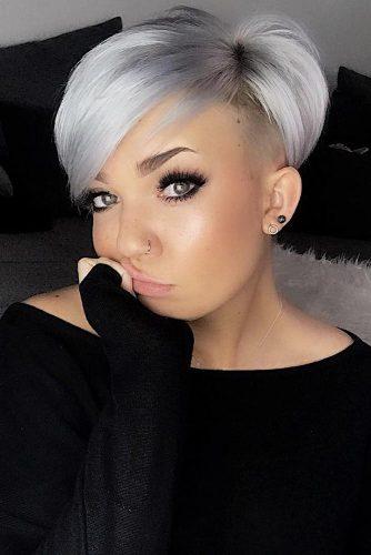 Silver Long Pixie Hairstyle #pixiecut #longpixie #silverhair