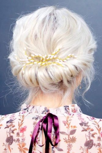 Simple Low Chignon Updo for Short Hair