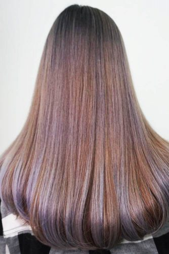 Sleek Ash Brown And Lavender Hair #brownhair #brunette #highlights