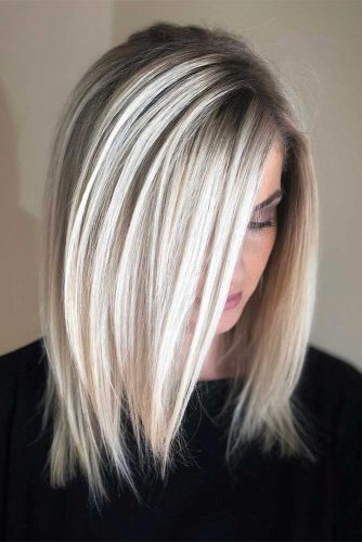 Sleek Long Bob Haircut with Side Swept Bang picture1