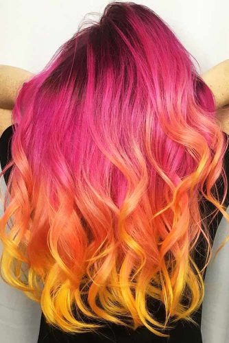 Triple Coloring With Strawberry Blonde Fuchsia #strawberryblonde #yellowhair